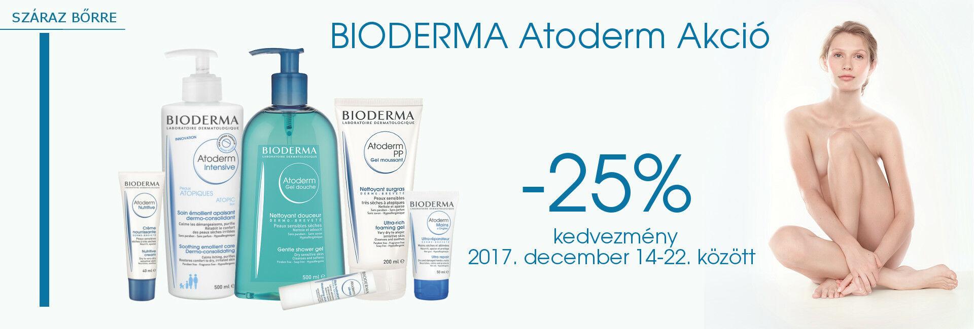 Bioderma Atoderm termékeket 2017. december 14-22. között 25% kedvezménnyel kínáljuk!