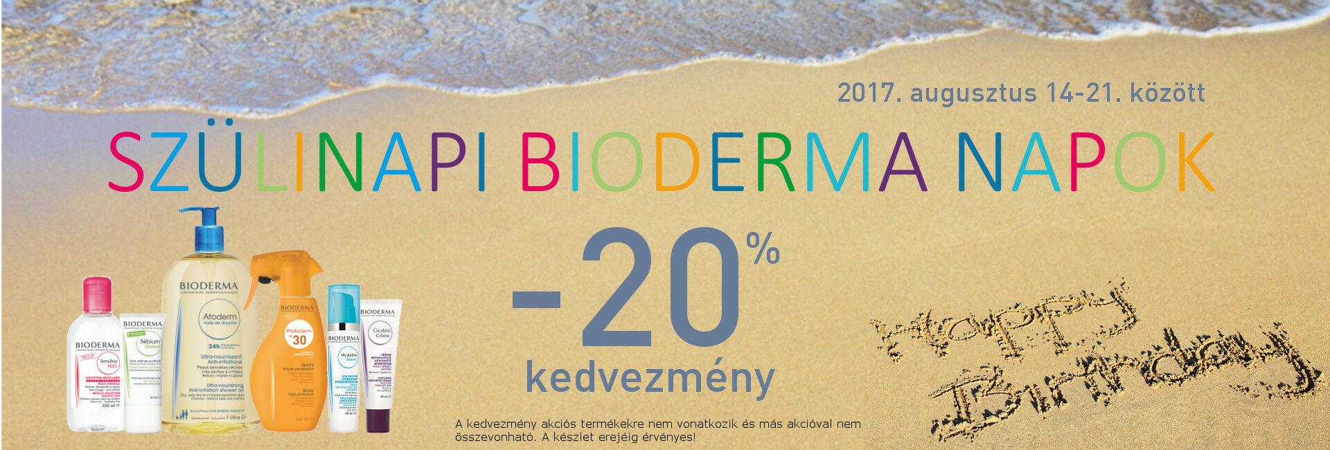 2017. augusztus 14-21. között minden Bioderma terméket 20% kedvezménnyel kínáljuk!