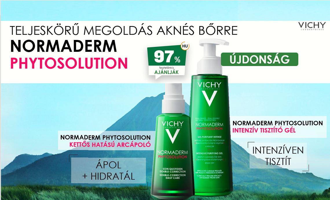 Vichy Normaderm Phytosolution termékcsalád aknéra hajlamos, pattanásos bőrre.