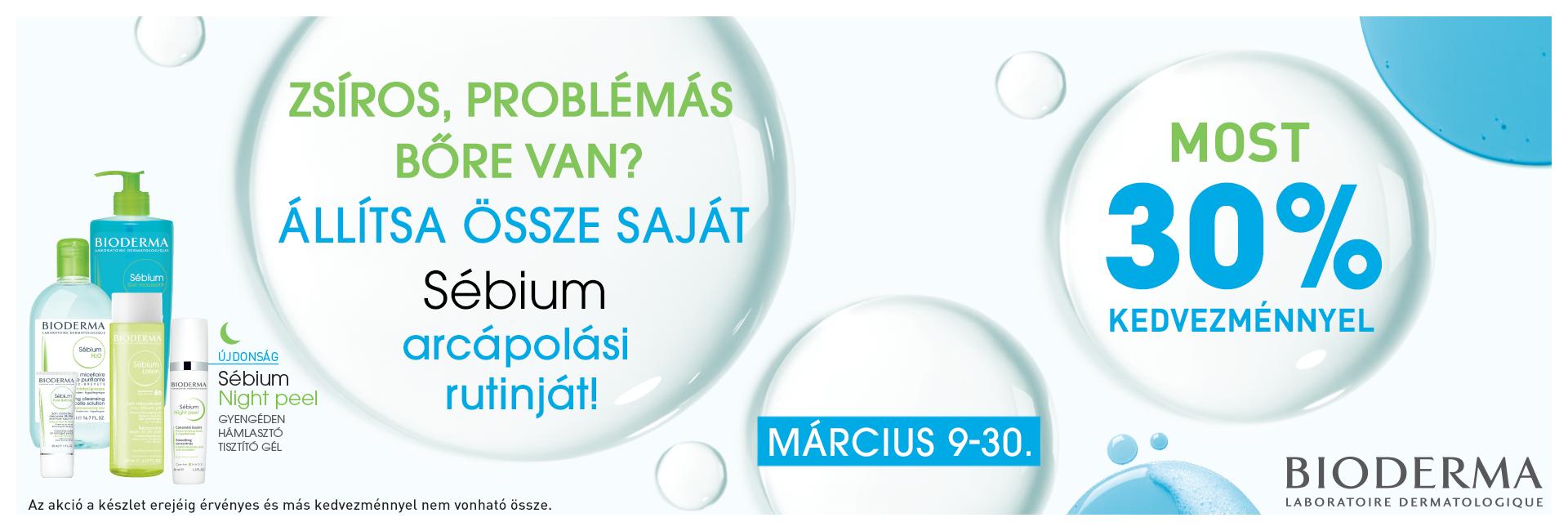 2020. mácius 30-ig minden Bioderma Sébium terméket 30% kedvezménnyel kínálunk!