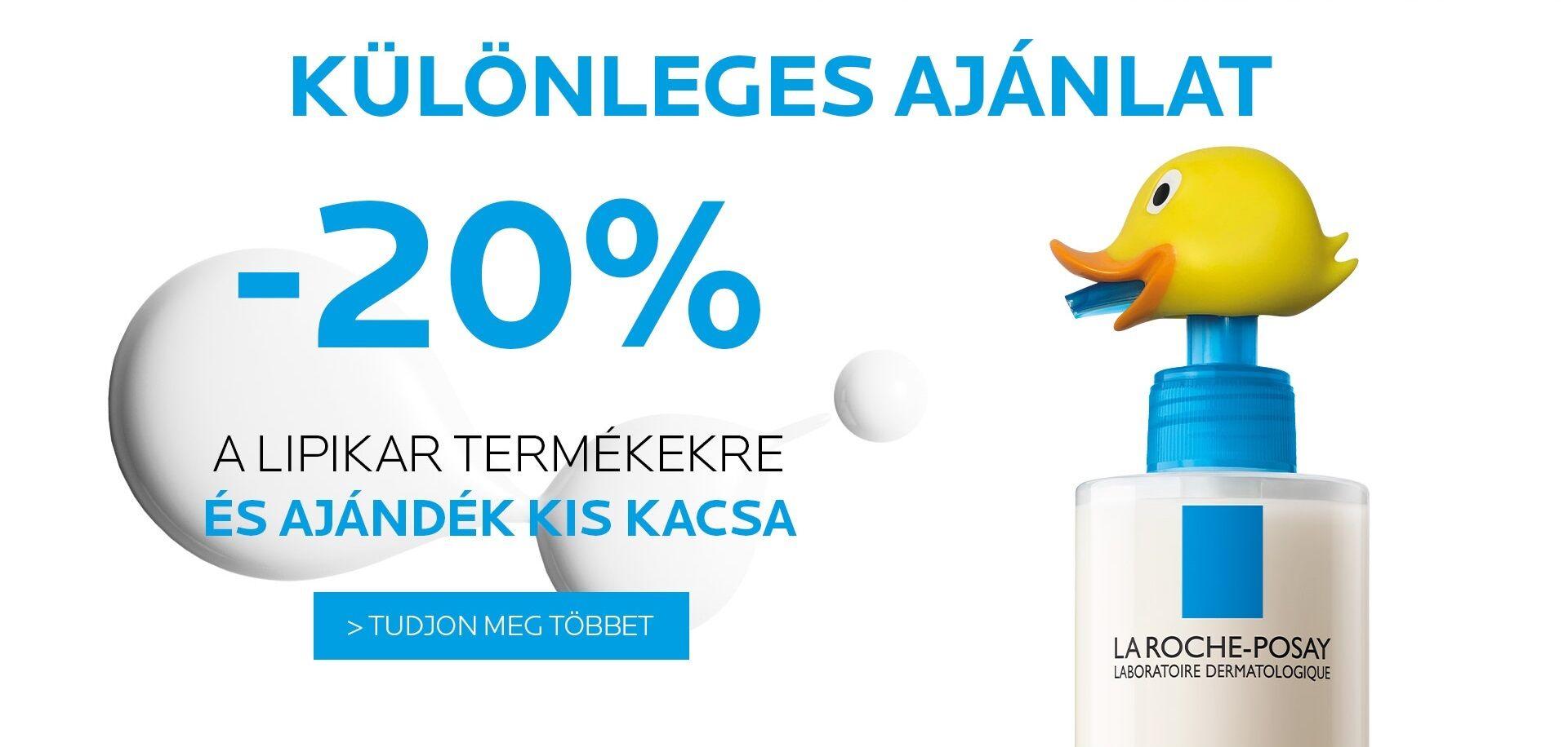 La Roche-Posay Lipikar különleges ajánlat: 2020. november 12-22. között 20% kedvezmény minden Lipikar termékre és ajándék kiskacsa.