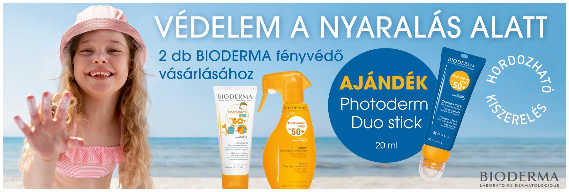 2020. július 16-31. között 2db minimum összesen 8.000 Ft értékű Bioderma Photoderm fényvédő rendelése esetén ajándékba adunk 1db Bioderma Photoderm DUO SPF50+ 20ml-t 4.000 Ft értékben!