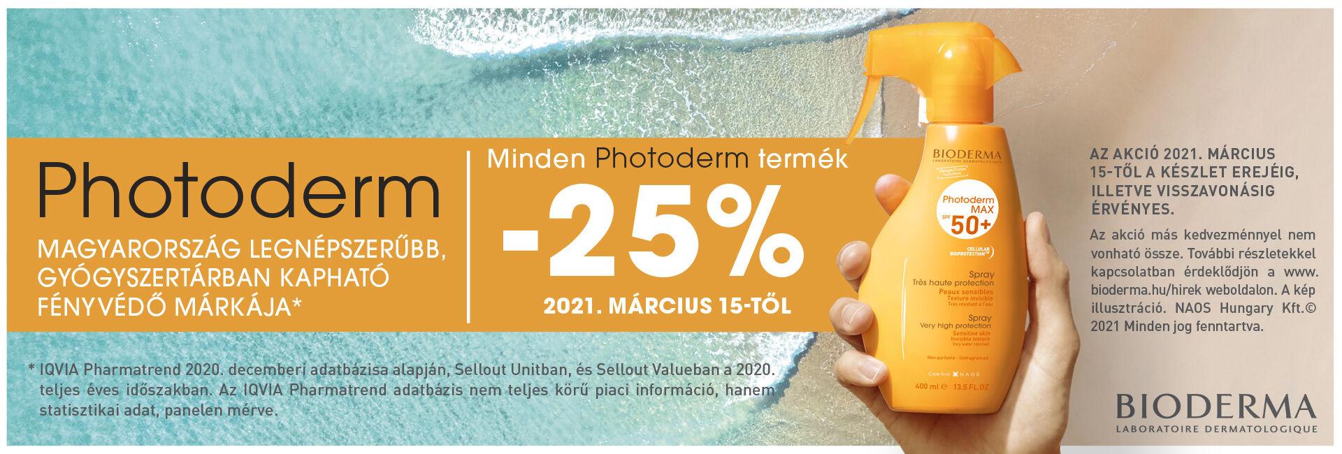 Bioderma Photoderm fényvédőkre 25-30% kedvezményt adunk!