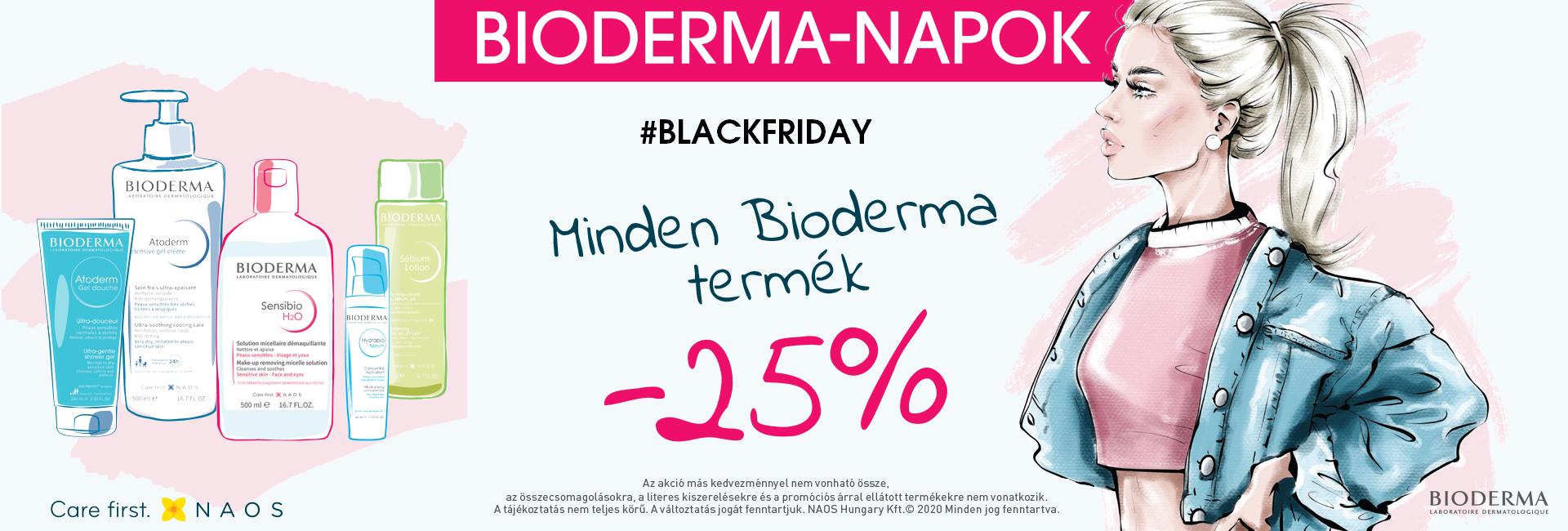 2020.november 23-30. között 25% kedvezményt adunk minden Bioderma termék árából!