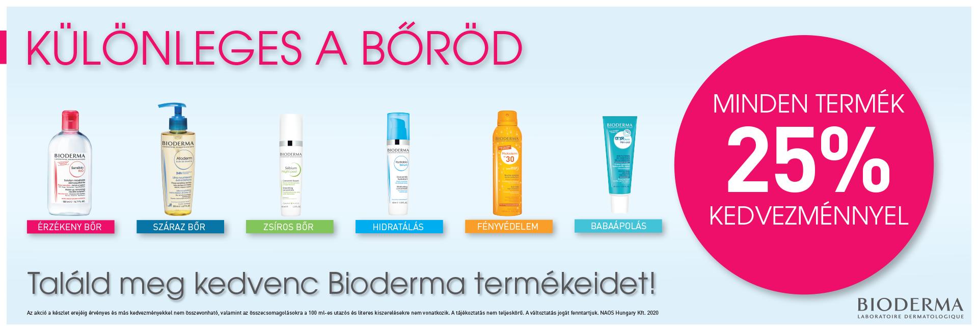 2020. június 20-29. között 25% kedvezményt adunk minden Bioderma termék árából!