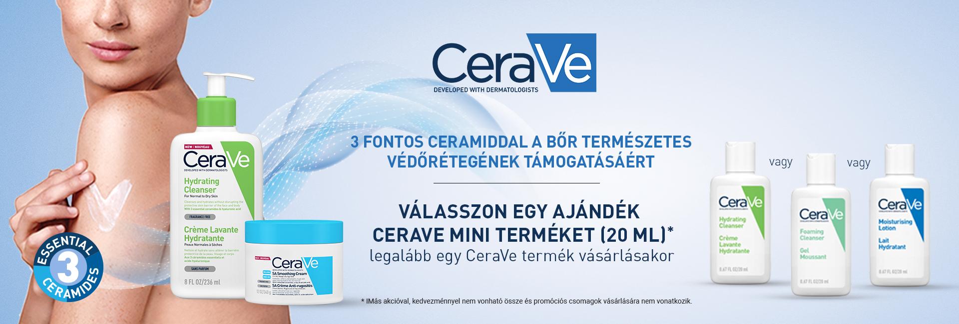 2020. július 22-31. között minden megrendelt CeraVe termék mellé 20ml-es CeraVe mini terméket adunk ajándékba 500 Ft értékben!