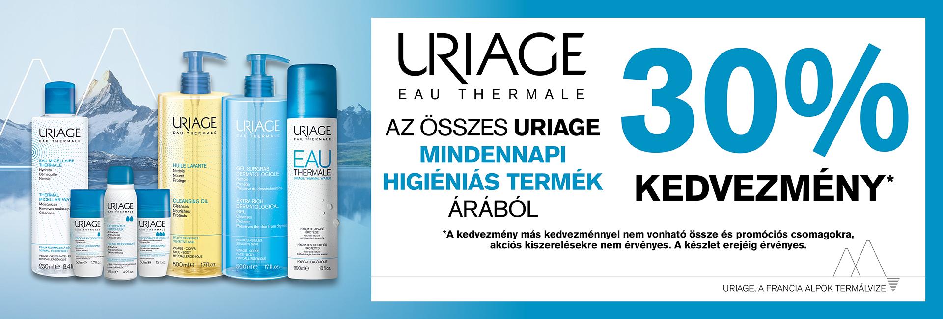 2020. május 28. és június 11. között minden Uriage mindennapos ápoló termék 30%-os kedvezménnyel kapható!