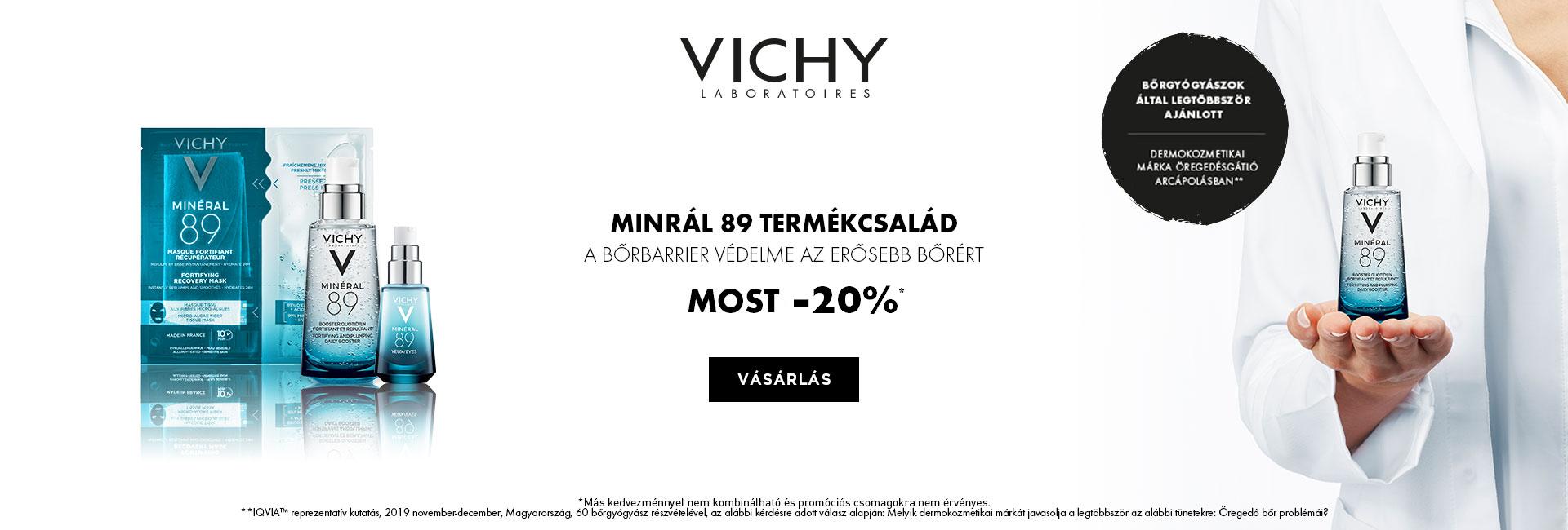 2021. január 25-31. között minden Vichy Minéral 89 Hyaluron Booster terméket 20% kedvezménnyel kínálunk! SŐT Trio csomagban 25% kedvezményt adunk!!!