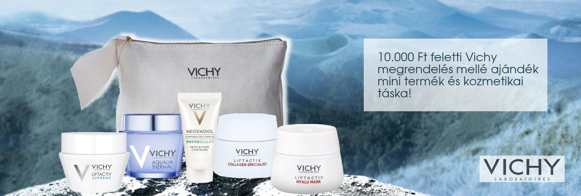 2020. december 3-10. között minden 10.000 Ft feletti Vichy megrendelés mellé választható Vichy mini arcápolót és kozmetikai táskát adunk ajándékba!