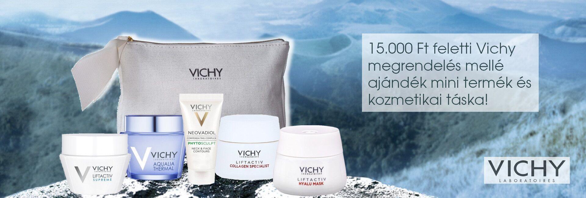 2021. október 14-31. között minden 15.000 Ft feletti Vichy megrendelés mellé választható mini Vichy arcápoló terméket és exkluzív Vichy kozmetikai táskát adunk ajándékba!