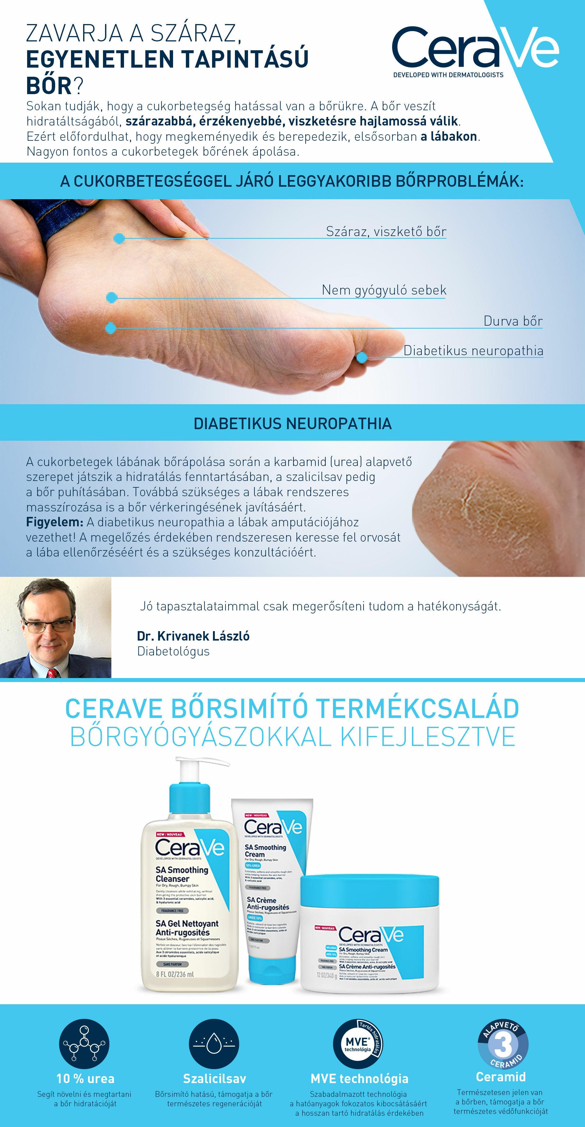 CeraVe SA termékeket javasoljuk diabetikus neuropathia esetén.