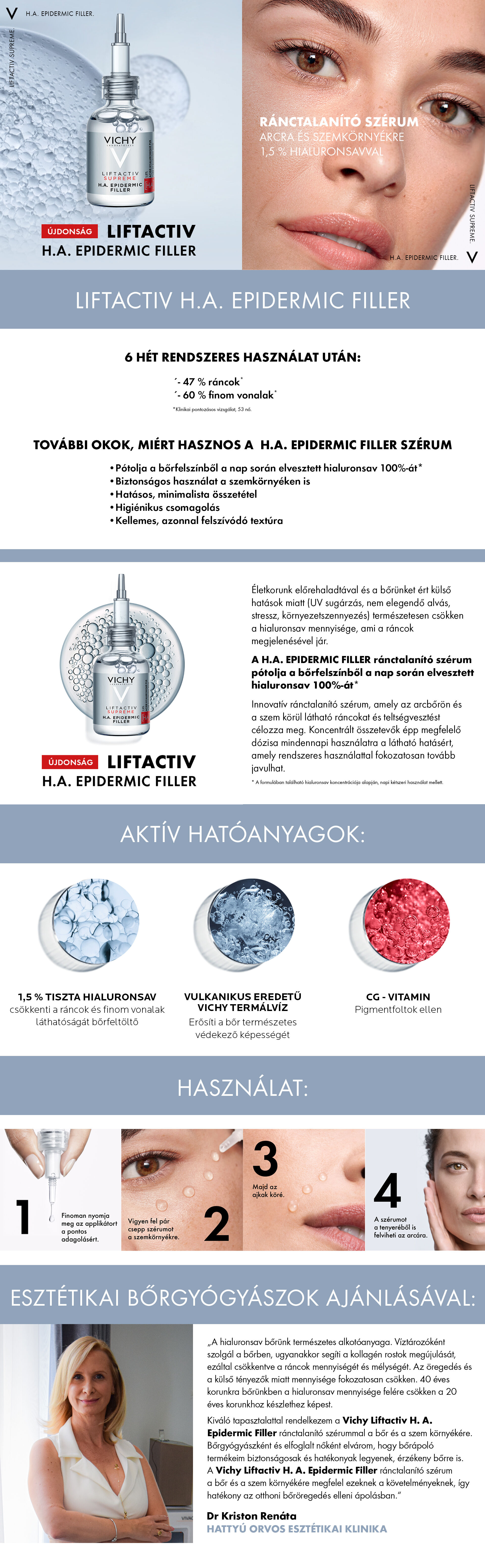 Vichy Liftactiv Supreme H.A. Epidermic Filler szérum