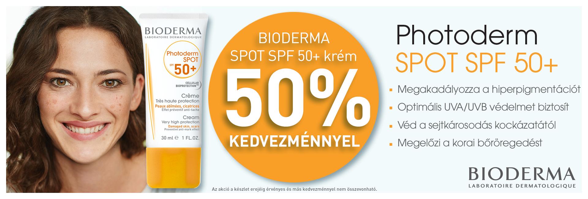 Bioderma Photoderm Spot SPF50+ krémet most 50% kedvezménnyel kínáljuk! Az akció csak a limitált akciós készlet erejéig érvényes!