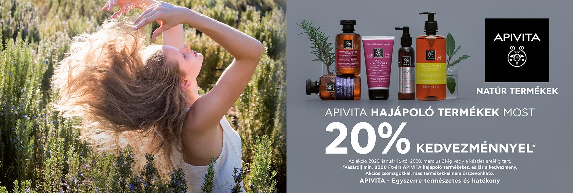 2020. január 16. és március 31. között rendeljen minimum 8.000 Ft értékben Apivita hajápolási terméket, és mi 20% kedvezményt adunk!