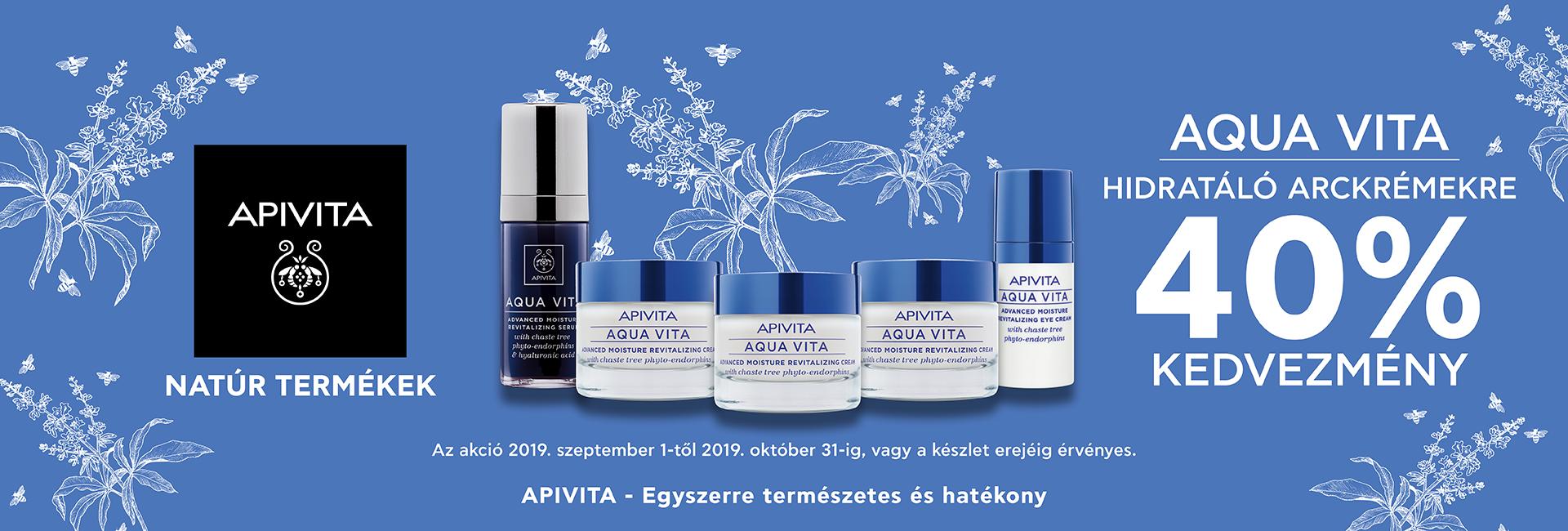 2019. szeptember 1. október 31. között minden APIVITA Aqua Vita terméket 40% kedvezménnyel kínálunk!