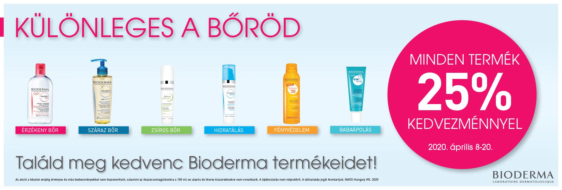BIODERMA NAPOK: 2020. április 8-20. között minden Bioderma terméket 25% kedvezménnyel kínálunk!