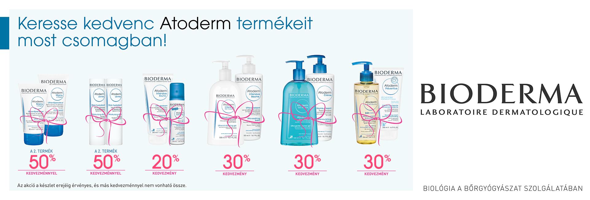 Bioderma Atoderm egyedi csomagok - keresse kedvenc Bioderma Atoderm termékeit csomagban, most akár 50% kedvezménnyel!