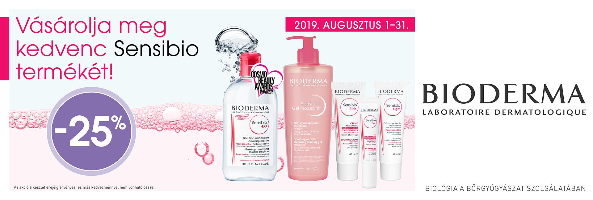 2019. augusztus 1-31. között minden Bioderma Sensibio terméket 25% kedvezménnyel kínálunk!