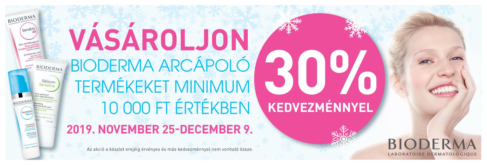 Vásároljon Bioderma arcápoló és arctisztító termékeket minimum 10.000 Ft értékben 30% kedvezménnyel!