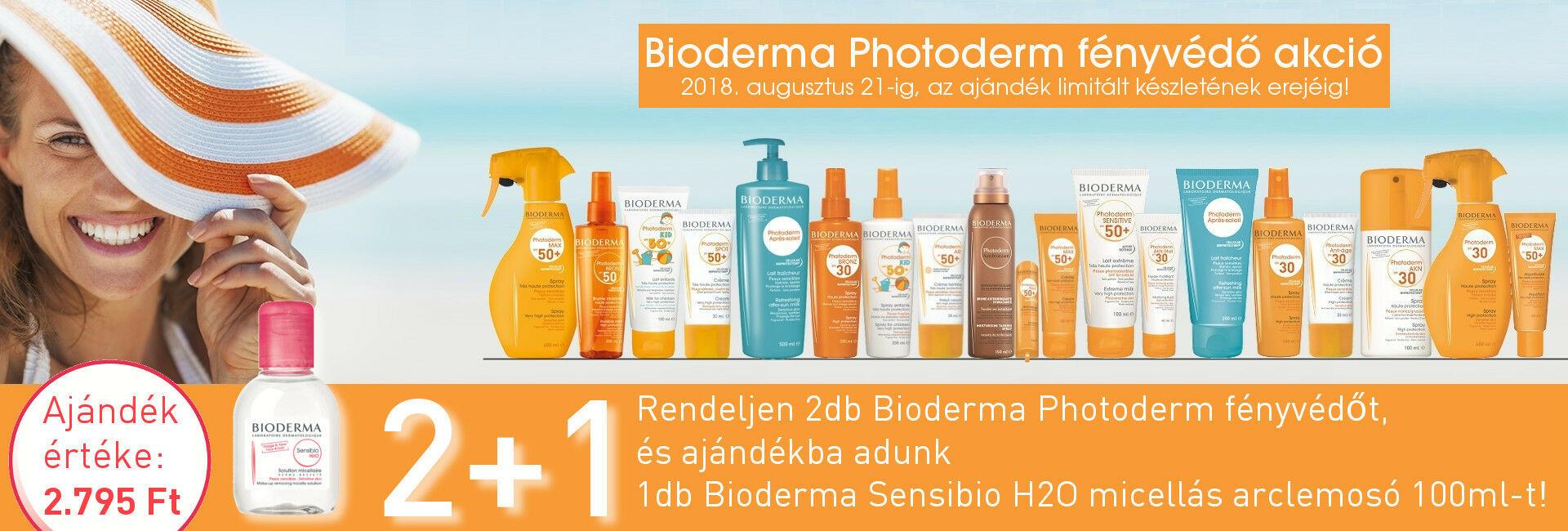 2018. augusztus 21-ig, vagy az ajándék limitált készletének erejéig, 2db Bioderma Photoderm fényvédő mellé ajándékba adunk 1db Bioderma Sensibio H2O micellaoldat 100ml-t!
