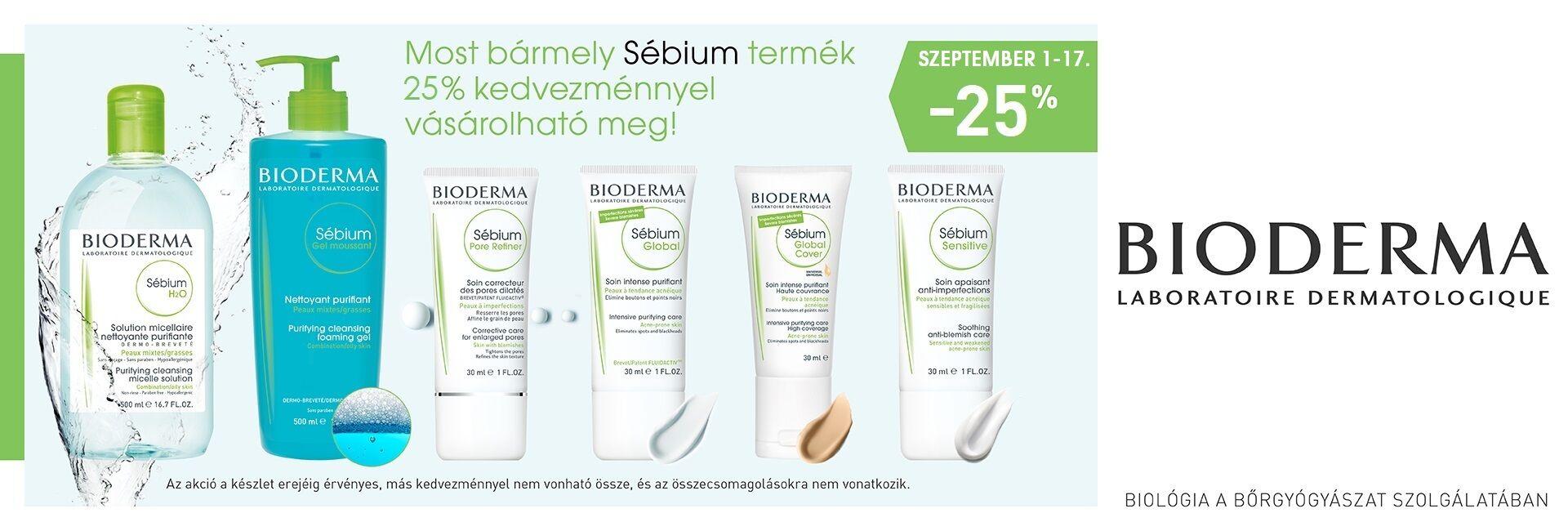 2018. augusztus 29. és szpetember 17. között minden Bioderma Sébium termékre minimum 25% kedvezményt adunk!