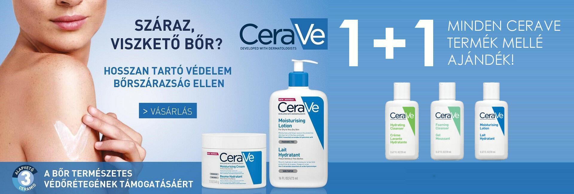 2020. március 1. ás április 30. között minden megrendelt CeraVe termék mellé 20ml-es CeraVe mini terméket adunk ajándékba 500 Ft értékben!
