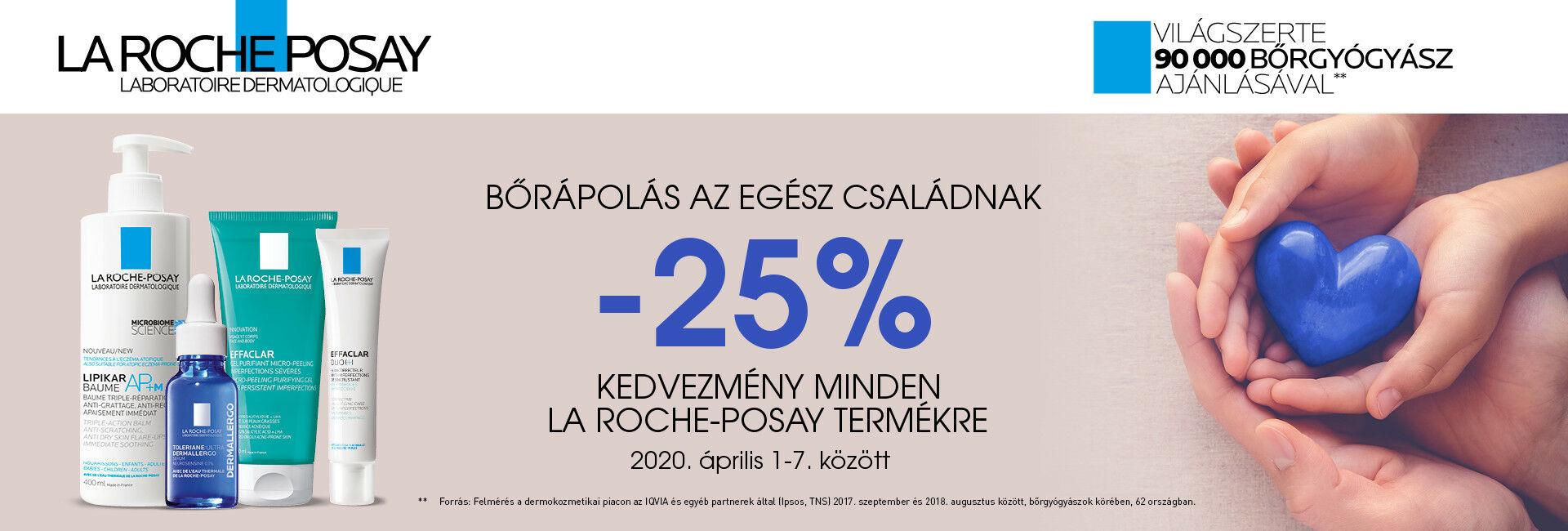 2020. április 2-9. között minden La Roche-Posay termékre 25% kedvezményt adunk!