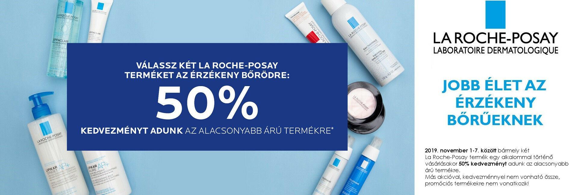 2019. november 1-7. között a második La Roche-Posay termékre 50% kedvezményt adunk!