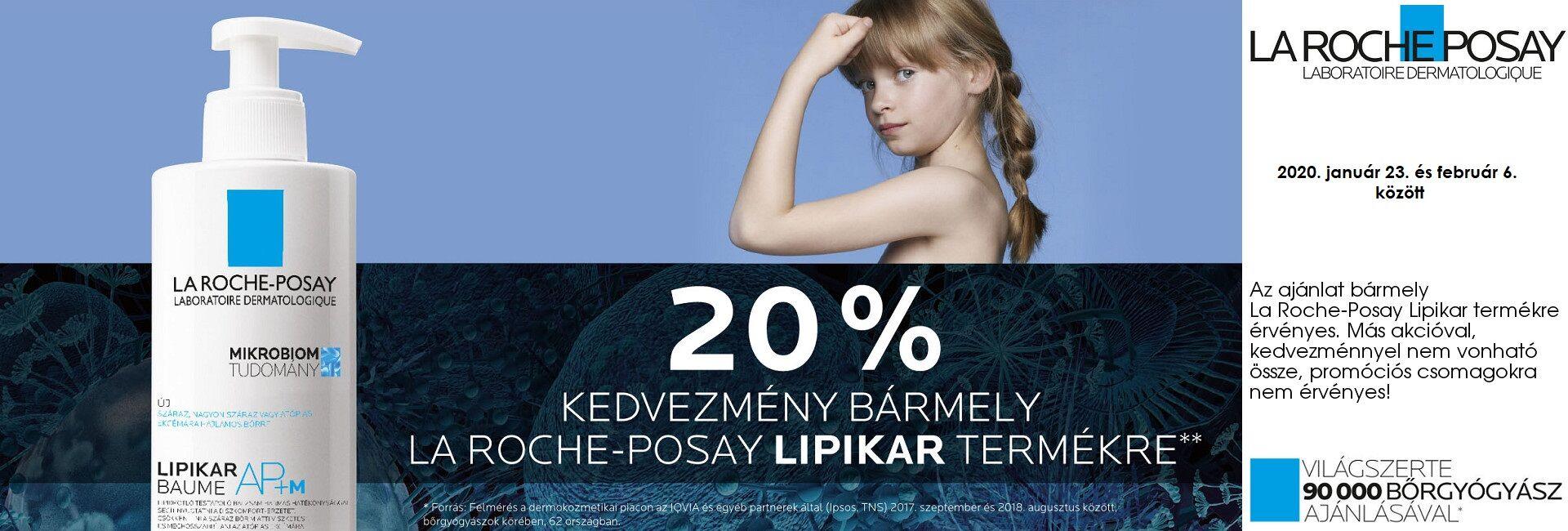 2020. január 23. és február 6. között minden La Roche-Posay Lipikar terméket 20% kedvezménnyel kínálunk!