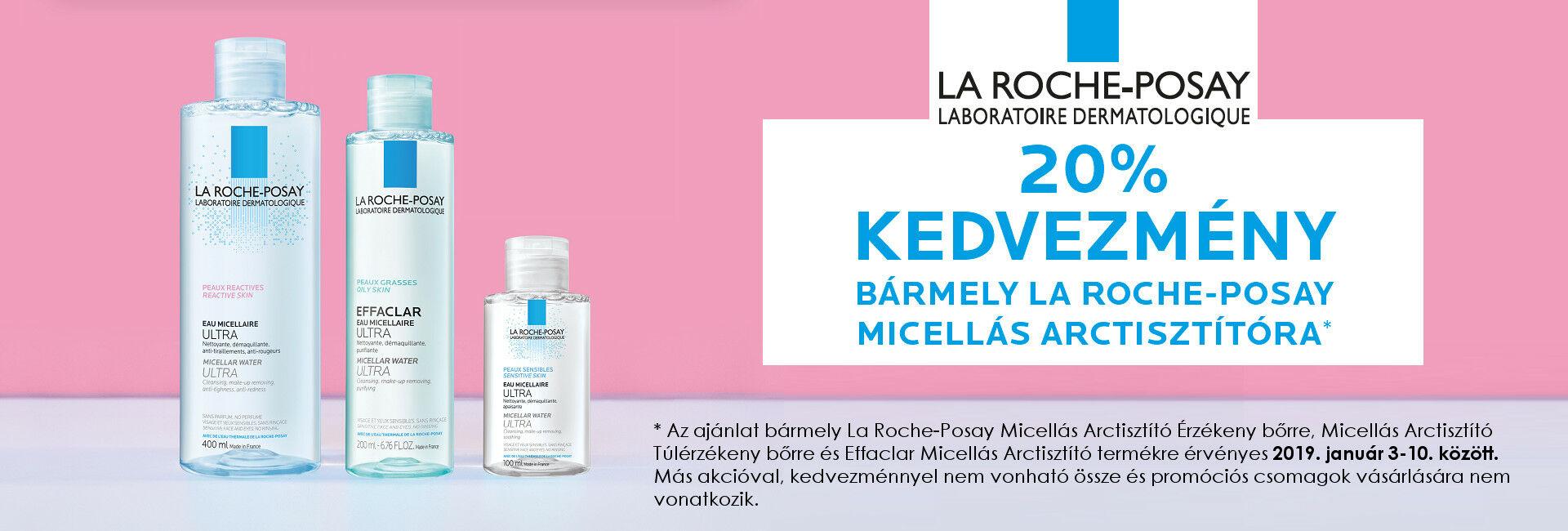 2019. január 3-10. között a La Roche-Posay Micellás Arctisztító Érzékeny bőrre, Micellás Arctisztító Túlérzékeny bőrre és Effaclar Micellás Arctisztító termékekre 20% kedvezményt adunk!