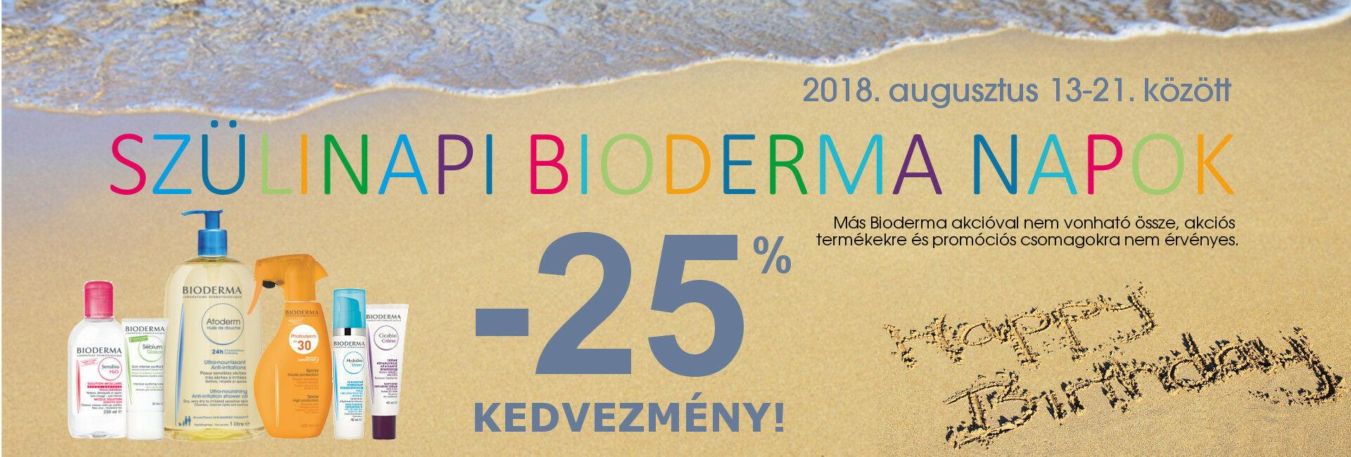 SZületésnapi Bioderma Napok: 2018. augusztus 13-21. között minden Bioderma termékre 25-50% kedvezményt adunk!