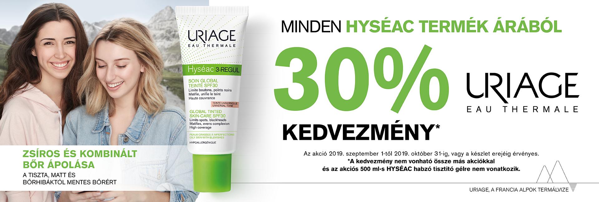 2019. szeptember 1. és október 31. között minden Uriage Hyséac terméket 30% kedvezménnyel kínálunk!