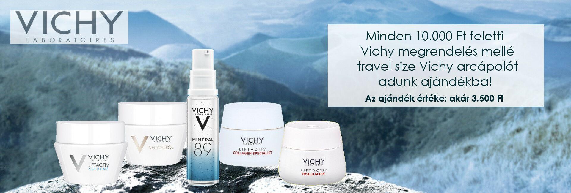 2020. január 30. és február 9. között minden 10.000 Ft feletti Vichy megrendelés mellé travel size Vichy arcápolót adunk ajándékba!