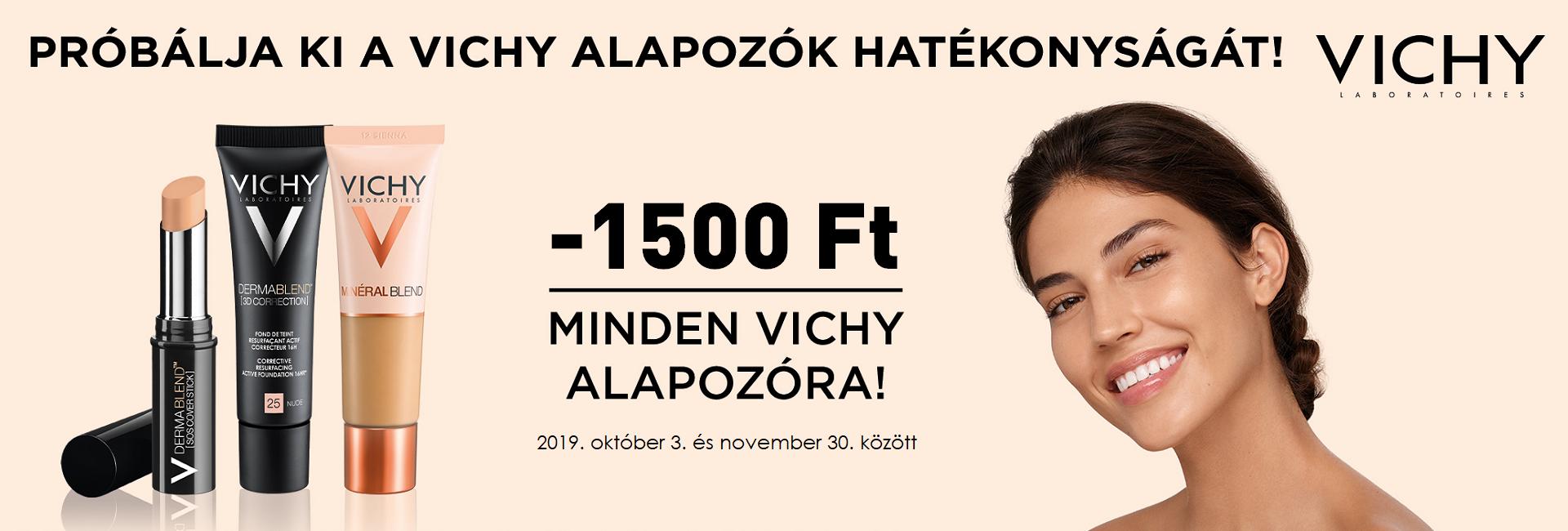 2019. október 3. és november 31. között minden Vichy alapozó árából 1500 Ft kedvezményt adunk!