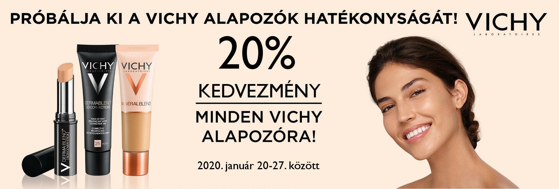 2020. január 20-27. között minden Vichy alapozó árából 20% kedvezményt adunk!