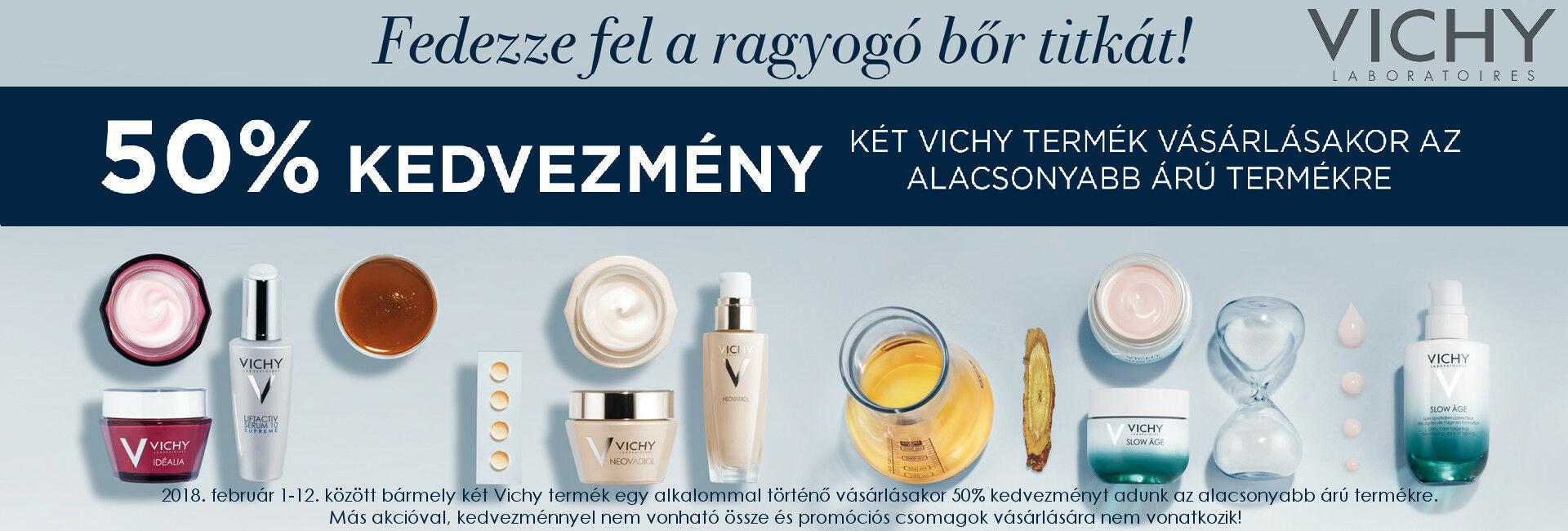 2018. február 12-ig a 2.Vichy terméket 50% kedvezménnyel kínáljuk!