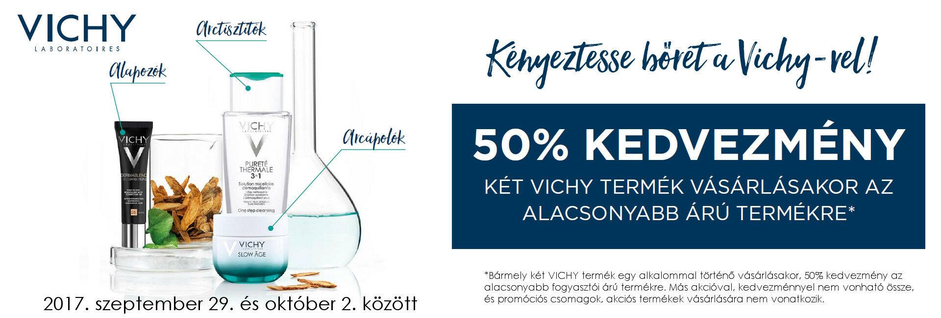 2017.szeptember 29. és október 2. között Vichy akció: a 2.termék 50% kedvezménnyel!