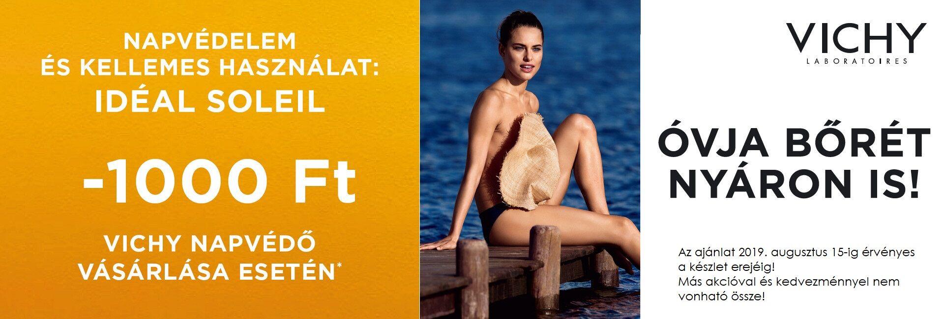 2019. augusztus 15-ig minden Vichy Idéal Soleil napvédő termékekre 1.000 Ft kedvezményt adunk!