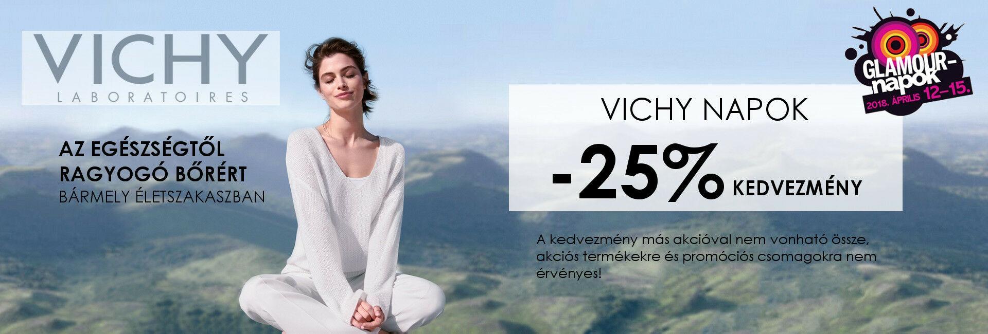 2018. április 12-15. között minden Vichy terméket 25% kedvezménnyel kínálunk!