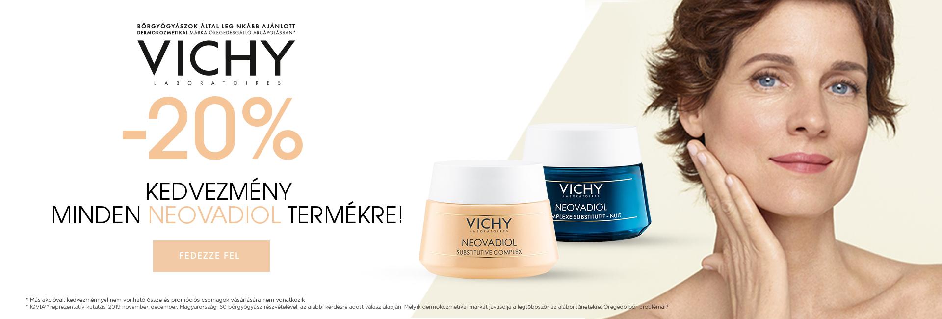 2020. április 9-15. között minden Vichy Neovadiol terméket 20% kedvezménnyel kínálunk!