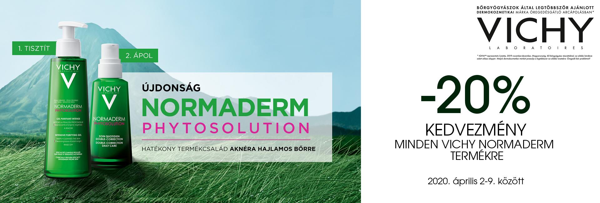 2020. április 2-9. között minden Vichy Normaderm terméket 20% kedvezménnyel kínálunk!