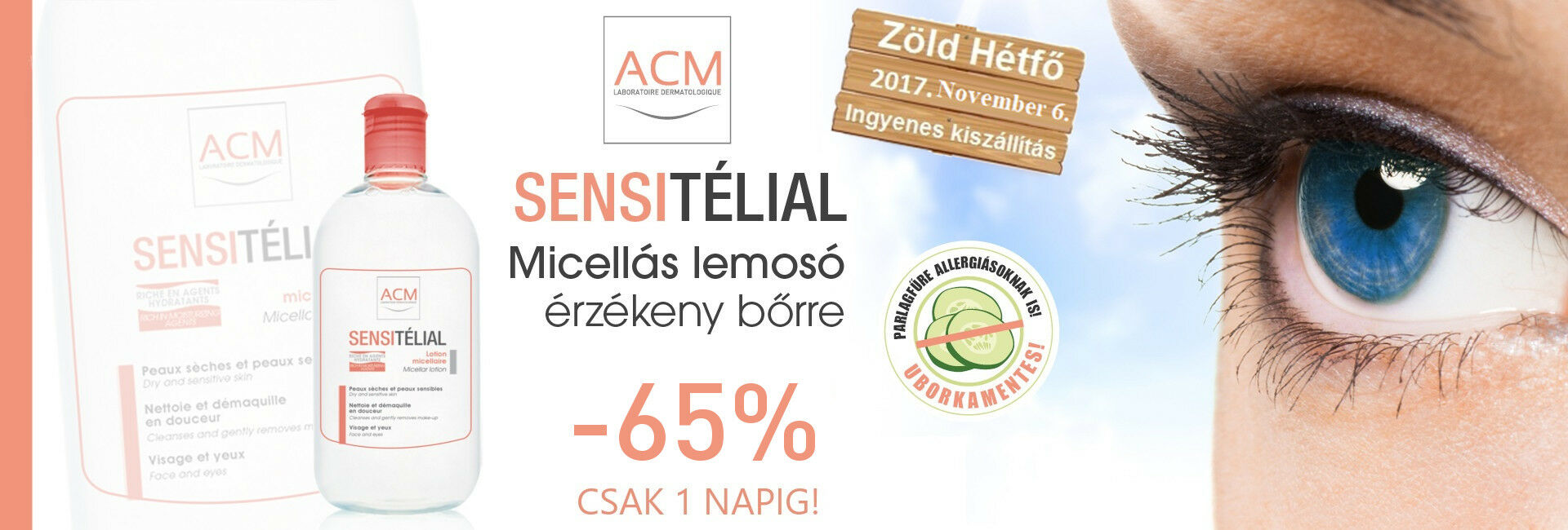 Ma az ACM Sensitélial micellás arclemosót 65% kedvezménnyel kínáljuk!