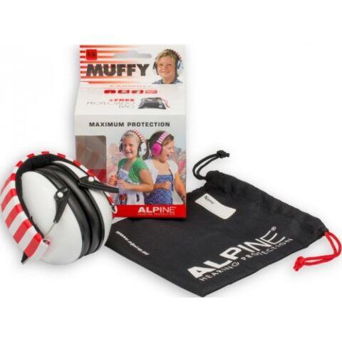Alpine Muffy Gyermek hallásvédő fültok húzózsinóros táskával - fehér