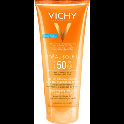 Vichy Idéal Soleil ultra felszívódó napvédő tej-gél nedves vagy száraz bőrre SPF 50 200 ml